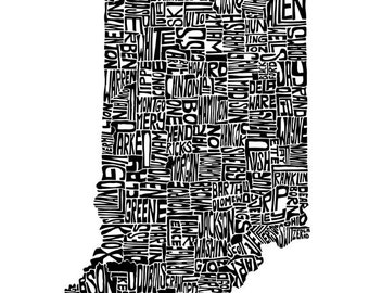 Indiana typography map art print 5x7 customizable personalized state poster personalized wall decor engagement wedding housewarming gift