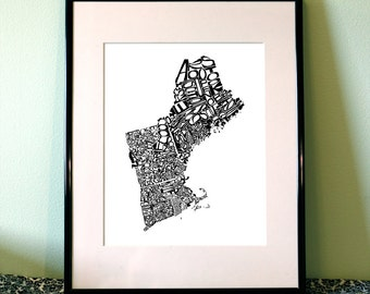 New England -  typography map art print 5x7 - customizable state poster wall decor