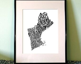 New England - typography map art print - customizable 16x20 - free shipping