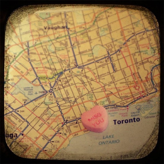 miss you toronto custom candy heart map art 5x5 ttv photo print - free shipping