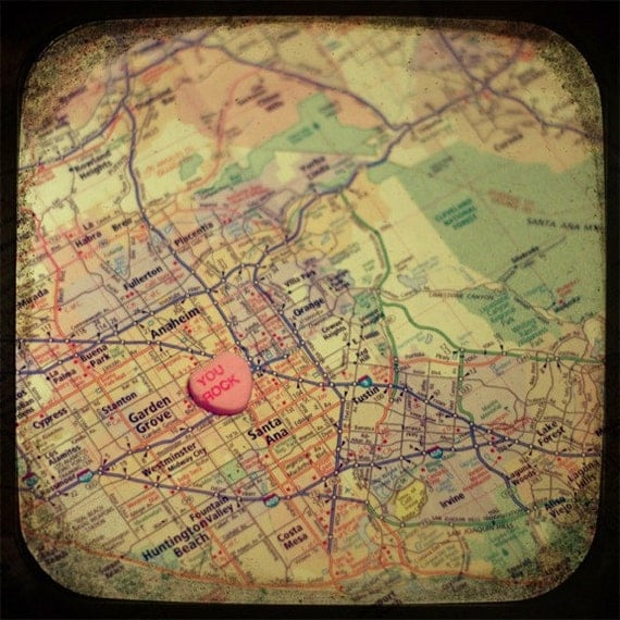 you rock orange county candy heart map art custom 5x5 ttv photo print - free shipping