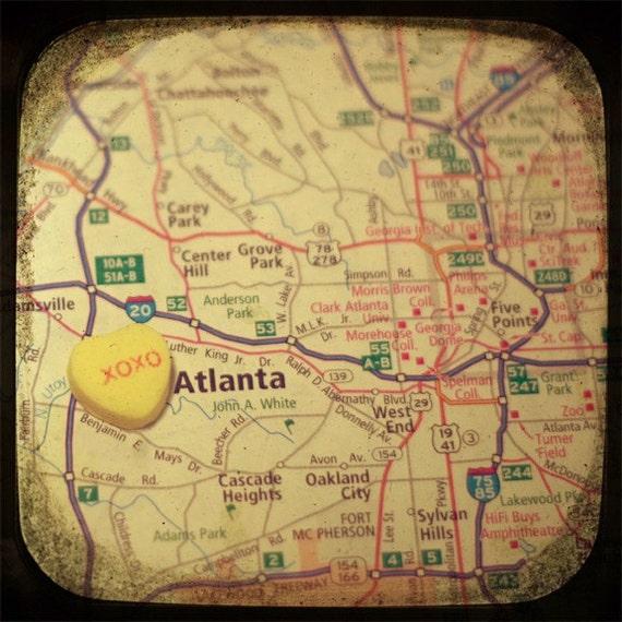 xoxo atlanta custom candy heart map art photo print