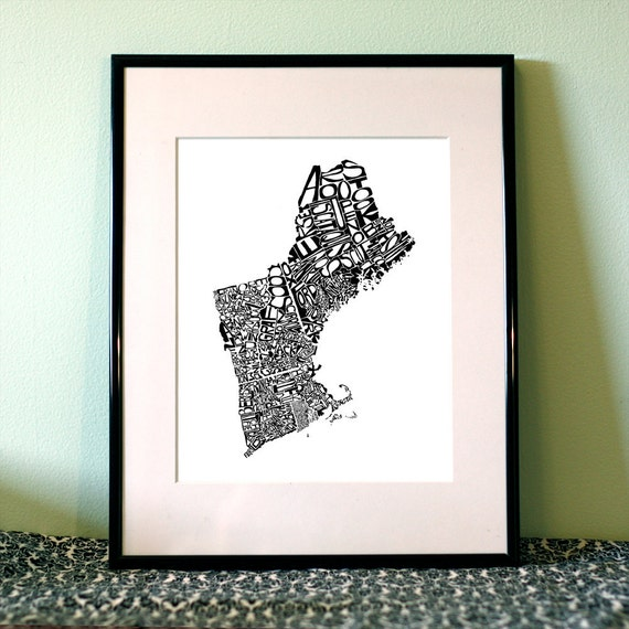 New England -  typography map art print 8x10 - customizable state poster wall decor
