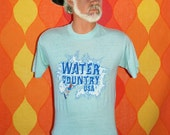 vintage 70s t-shirt WATER COUNTRY usa park Medium flume water skiing