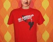 vintage tee shirt 70s go AMERICAS sell energy crisis lightning bolt t-shirt Large oil brazil rainforest