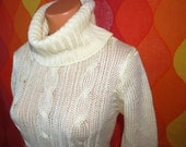 vintage turtleneck sweater 70's ivory cable knit fisherman jumper Small 80s women soft