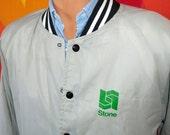 vintage 80s satin jacket baseball stripe raglan XL green grass 420