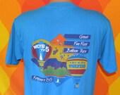 vintage t-shirt 80s hot air balloon FUN FEST kingsport rainbow tee shirt Large