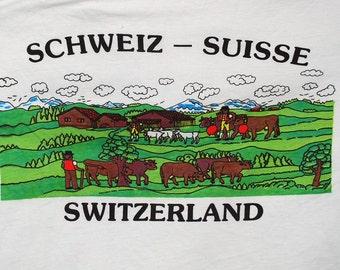 vintage t-shirt 80s schweiz suisse SWITZERLAND farm cows tee shirt XL pastoral