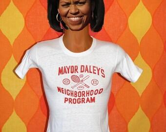 vintage 60s tee shirt chicago MAYOR DALEY neighborhood program t-shirt XS 70s