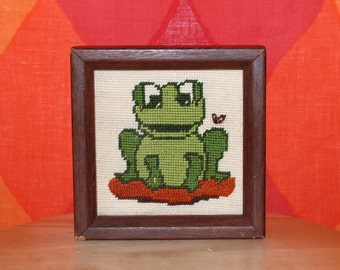 vintage 70s needlepoint FROG on lilypad framed ART wall hanging cross stitch