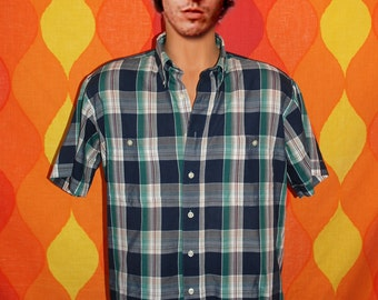 vintage 80s pierre cardin shirt plaid short sleeve button down campus hipster Large