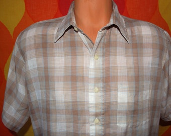 vintage 80s light brown plaid short sleeve button down campus hipster shirt XL