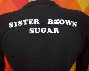 vintage 70s t-shirt flock soul sister BROWN SUGAR camp russell football jersey tee shirt Medium 80s wwoz jazz dog