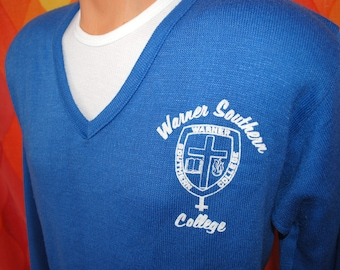vintage 60s sweater WARNER southern college university v-neck christian Large cross soft 70s