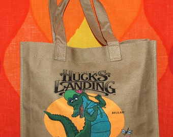 vintage 1983 huck's landing cartoon disney animation huckleberry finn alligator tote bag