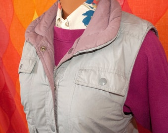 vintage 80s SKI VEST gray pink reversible puffy Small women nordic