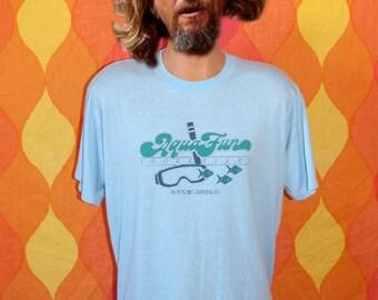 vintage 80s tee SNORKELERS aqua fun royal caribbean cruise t-shirt XL soft thin