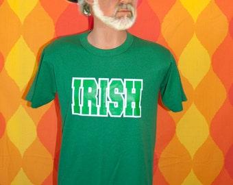 vintage notre dame t-shirt 80s IRISH green shamrock st patricks day tee shirt Medium