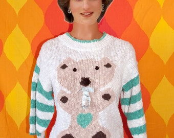 vintage 80's sweater teddy bear applique pom pom kawaii heart cute chunky knit bow rugby stripe Small