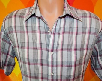 vintage 80s shirt plaid short sleeve button down campus hipster preppy pink Large pastel madras soft thin