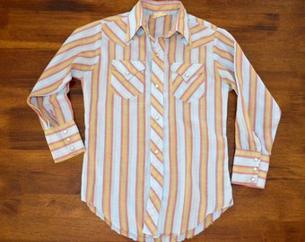 vintage 70s western shirt rainbow stripe cowboy pearl snap kids youth children 10 or adult XXS fun rodeo