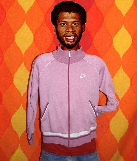 vintage 80s track jacket NIKE stripes zip up warm up jacket Large purple tennis