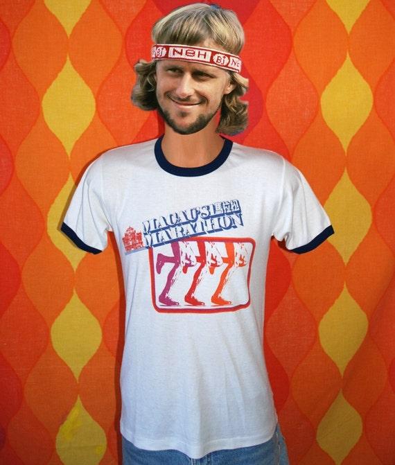 vintage t-shirt 1981 MACAU marathon rainbow jogging tee Medium