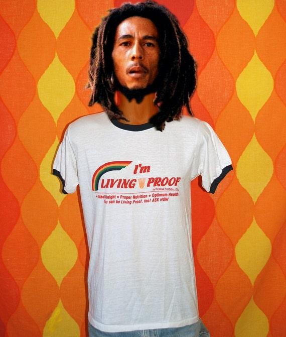 vintage t-shirt 70s LIVING PROOF health diet rainbow tee Medium