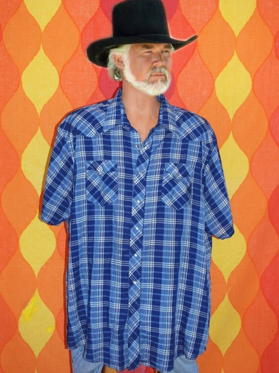 vintage 80s short sleeve wrangler WESTERN button down pearl snaps cowboy rockstar shirt XXL
