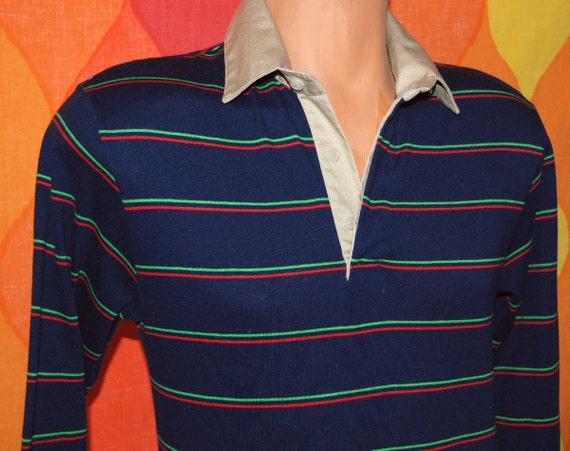 vintage rugby shirt 80s long sleeve striped polo Small fox jc penney