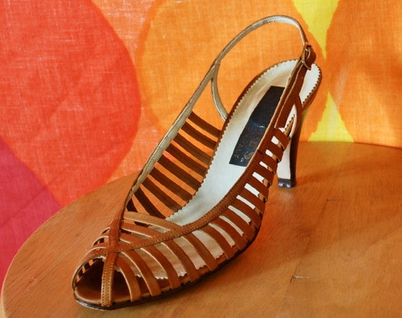 vintage 70s shoes heels italian caramel leather strappy woven disco party high 7