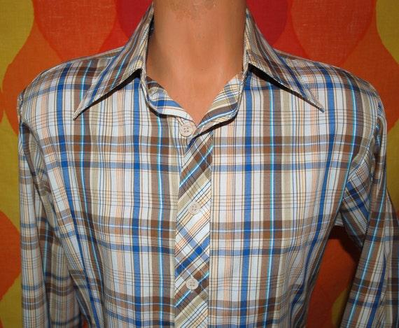 vintage 70s sears plaid western button down ranch shirt Medium cowboy rockstar