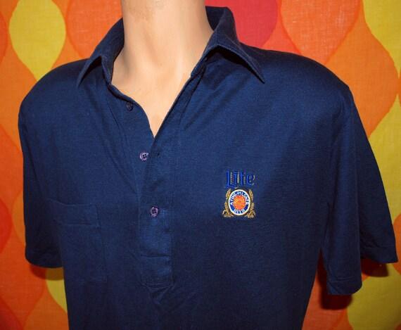 Vintage golf shirt 80s miller lite beer logo patch uniform for Vintage miller lite shirt