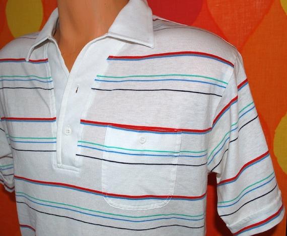 vintage 70s polo golf shirt white stripe PAR FOUR preppy soft Medium 80s