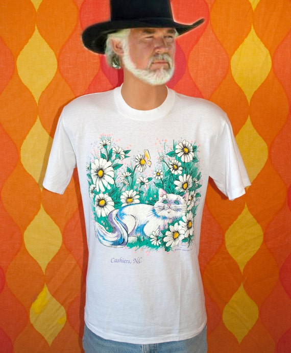 vintage 80s soft neon puffy paint cat w rhinestone eyes butterfly t-shirt Large cashiers north carolina