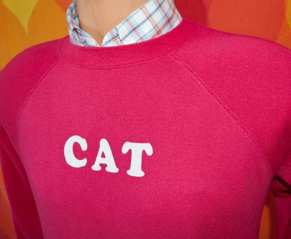 vintage 80s pink CAT crew neck raglan sweatshirt jumper sweater Medium kitten cute feline