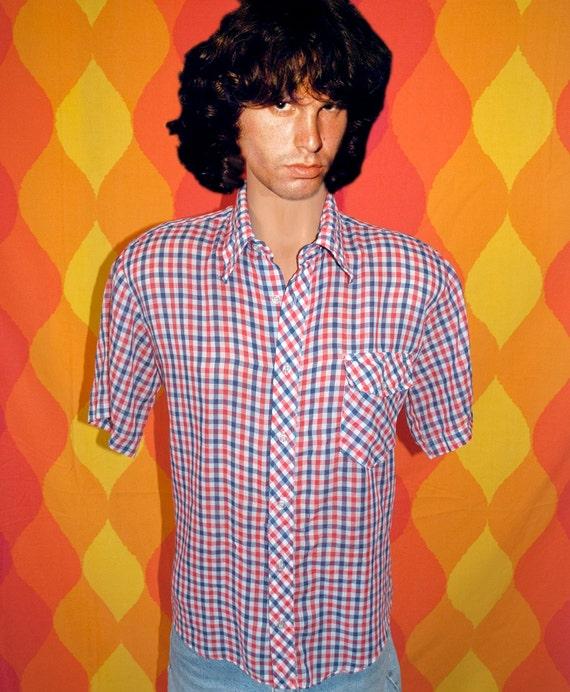 vintage 70s red blue gingham checker plaid short sleeve button down shirt Medium hipster cowboy