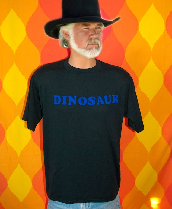 vintage t-shirt 80s flock DINOSAUR iron on black tee science nature XL Large brontosaurus t rex