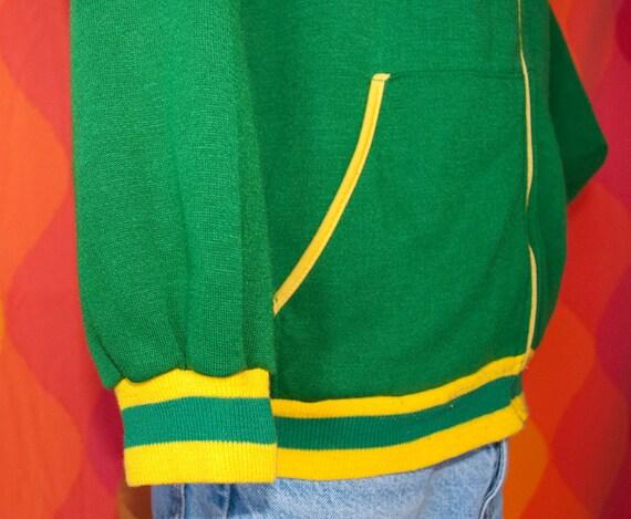 vintage zip hoody sweatshirt jacket 70s green gold stripes zipper Large sonics packers celtics