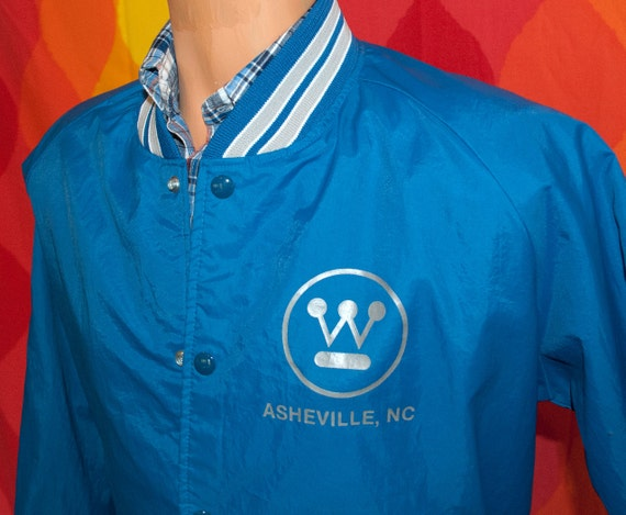 vintage baseball jacket 80s ASHEVILLE westinghouse Medium north carolina wind breaker wnc