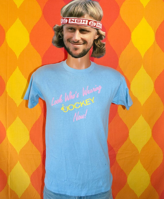 vintage 80s t shirt look who's wearing JOCKEY now neon tee shirt Small soft thin