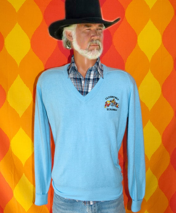 vintage 80s golf sweater DISNEY oldsmobile scramble tournament v-neck mickey mouse Medium titleist preppy