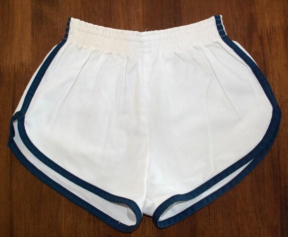 Vintage 70s Jogging Shorts White Navy Stripe Running Gym Kids