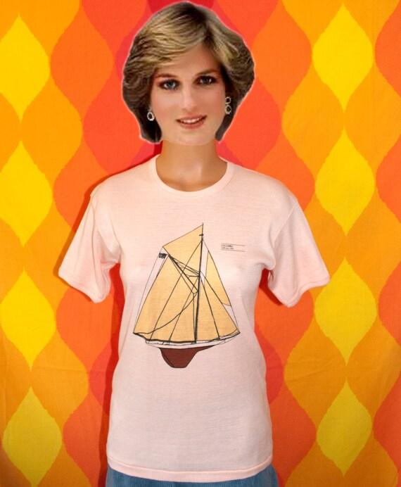 vintage tee shirt 70s COLUMBIA america's cup yacht sailing boat preppy t-shirt Medium babydoll