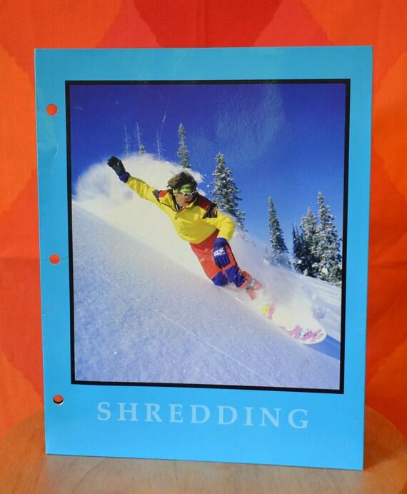 vintage 80s folder snowboard SHREDDING ski colorado neon pocket portfolio loose leaf school binder notebook