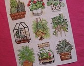 1 Sheet of 9 VINTAGE Rust Craft Stickers in PRETTY PLANTS