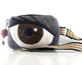 Wool Felt Embroided Applique Camera Gadget Case in Brown Eye Color