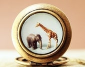 The Giraffe and The Elephant - Photo Locket Necklace-Collaboration with heartworksbylori