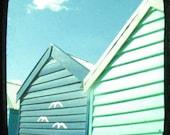 Beach photo, turquoise summer beach photo, black border, bright blue sky, birds, beach decor, ttv, retro wall art - Always